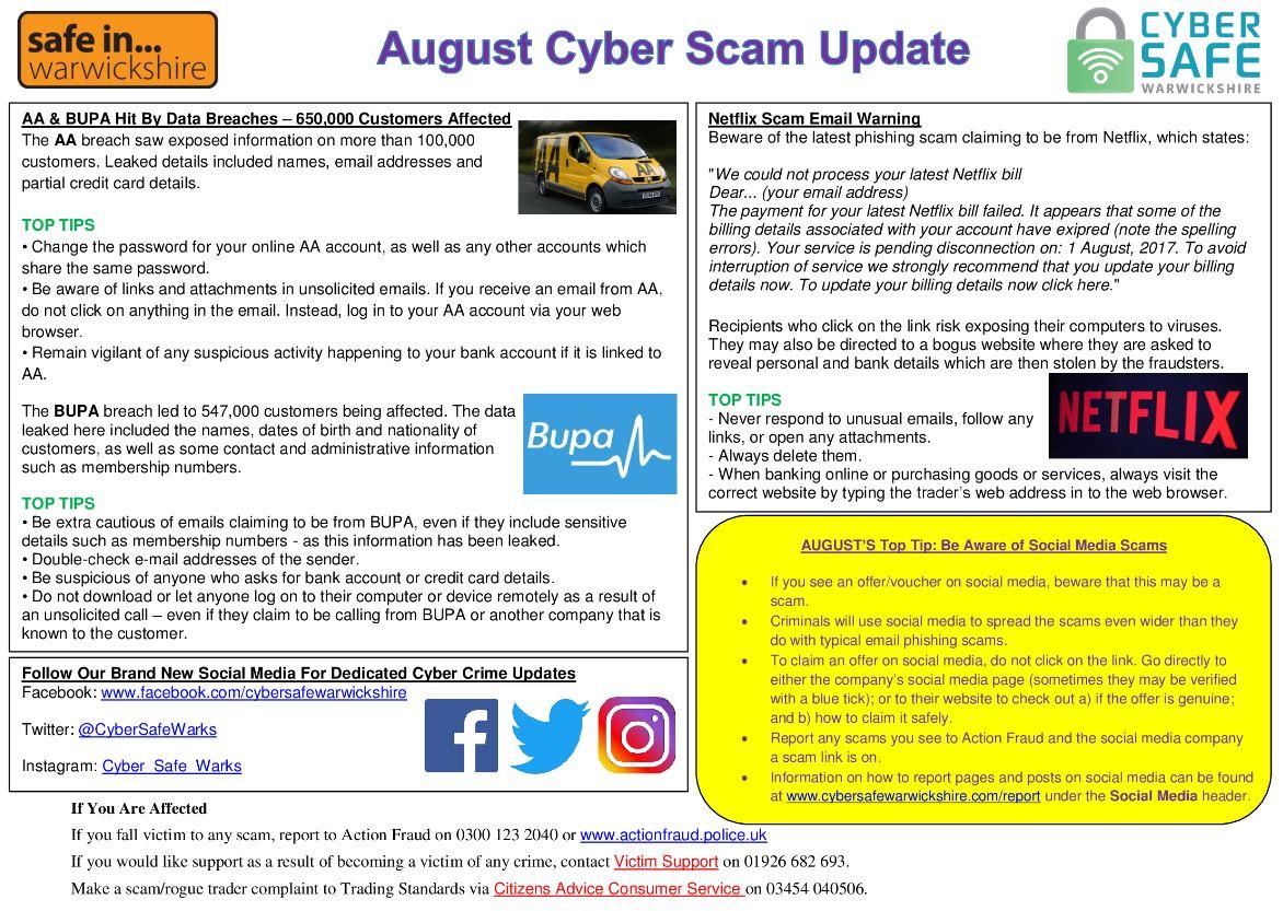 Cyber Safe Warwickshire - August Cyber Scam Newsletter Released