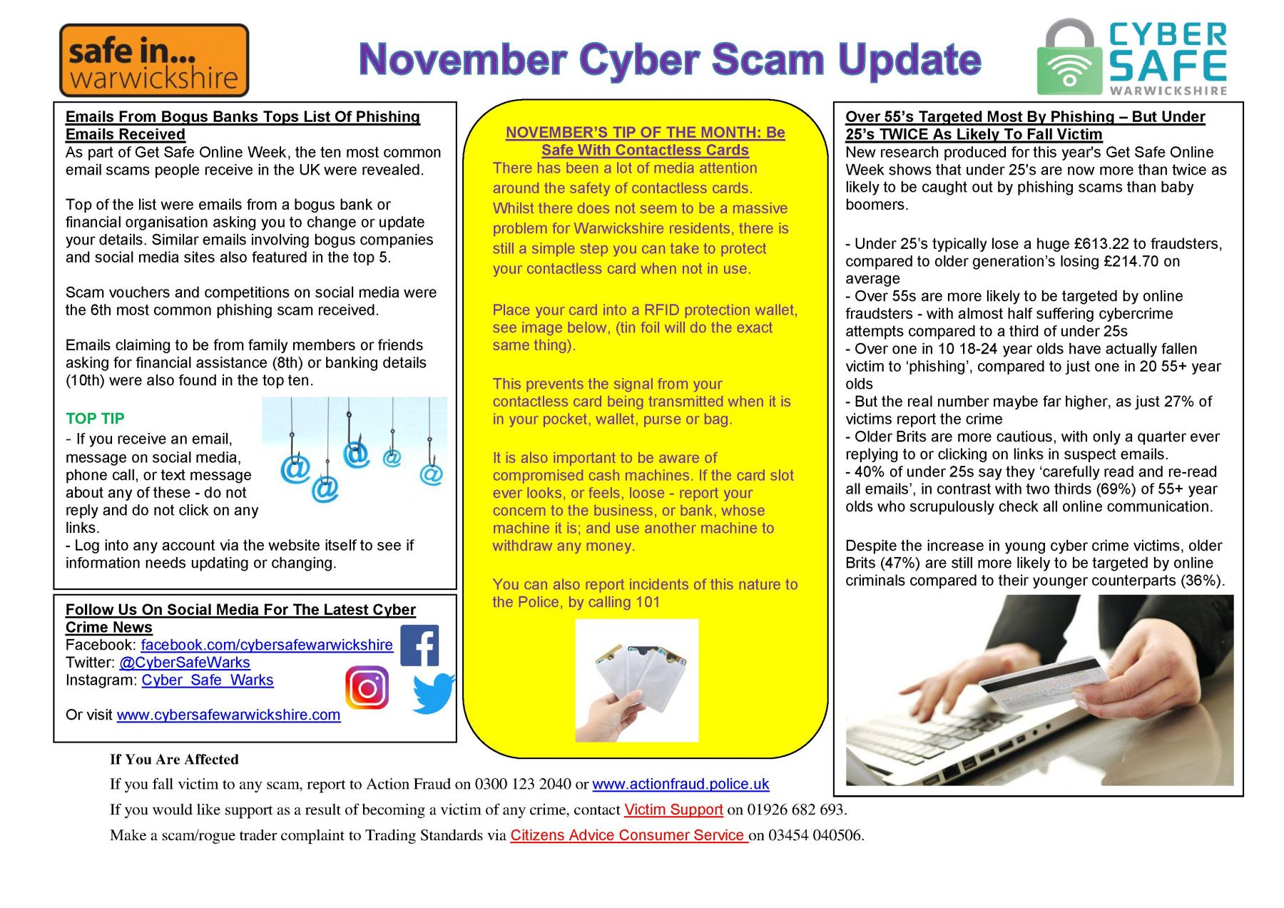 Cyber Safe Warwickshire - November Scam Update Is Now LIVE