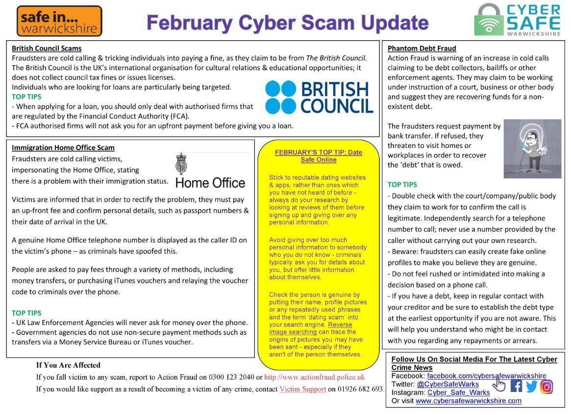 Cyber Safe Warwickshire - February Cyber Scam Update Now