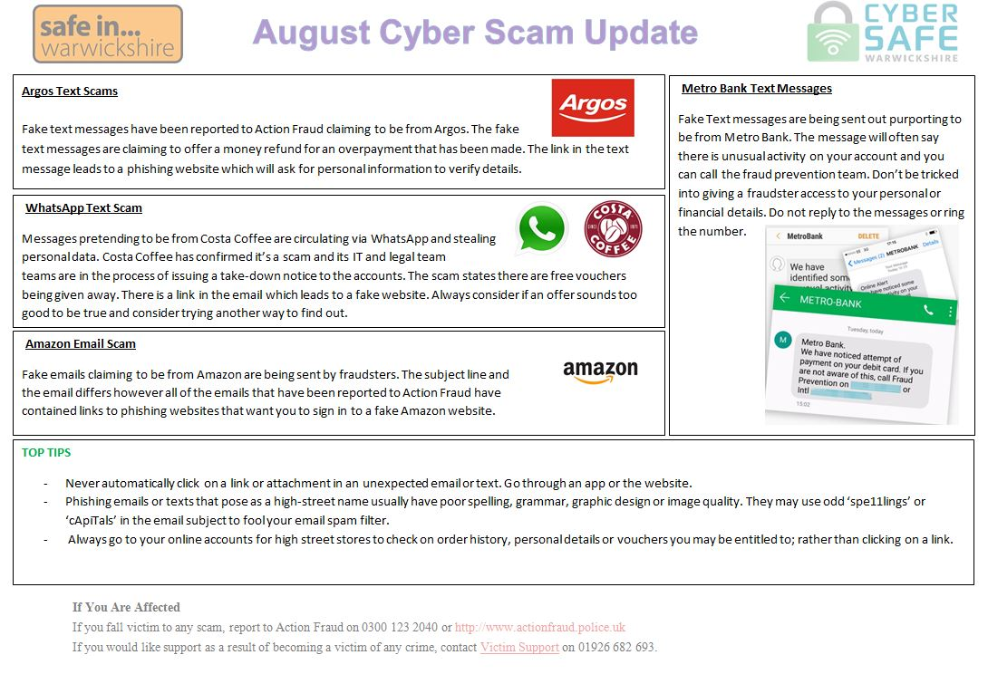 Cyber Safe Warwickshire August Cyber Scam Update Is Now Live