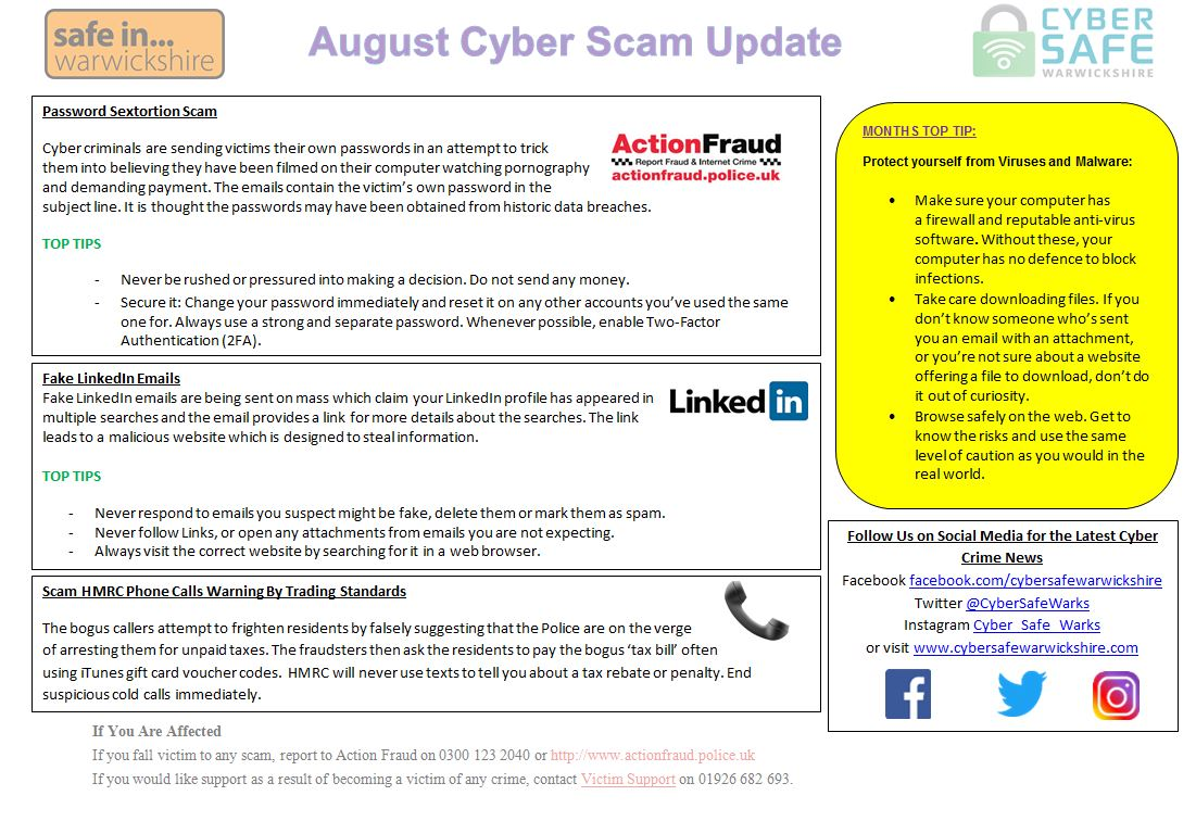 Cyber Safe Warwickshire - August Cyber Scam Update is Now LIVE
