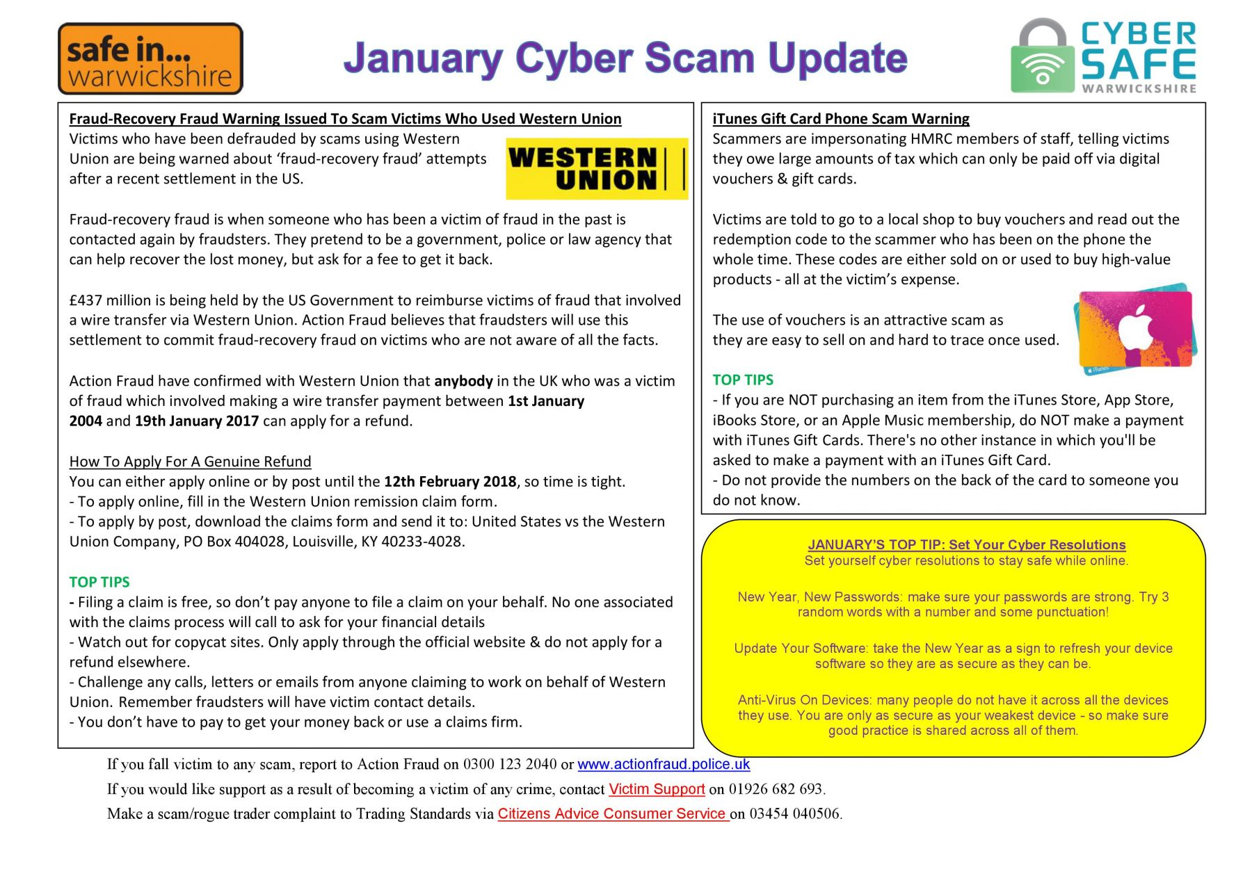 Cyber Safe Warwickshire - January Cyber Scam Update Now LIVE