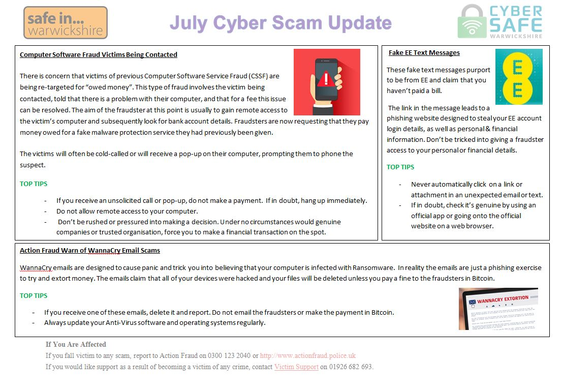 Cyber Safe Warwickshire - June Cyber Scam Update Is Now LIVE