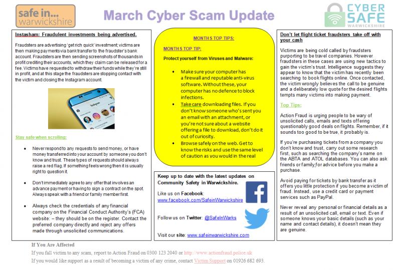 Cyber Safe Warwickshire - MARCH Cyber Scam Newsletter