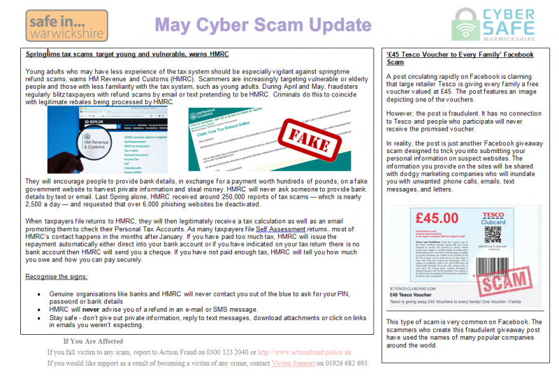 Cyber Safe Warwickshire - MAY Cyber Scam Newsletter