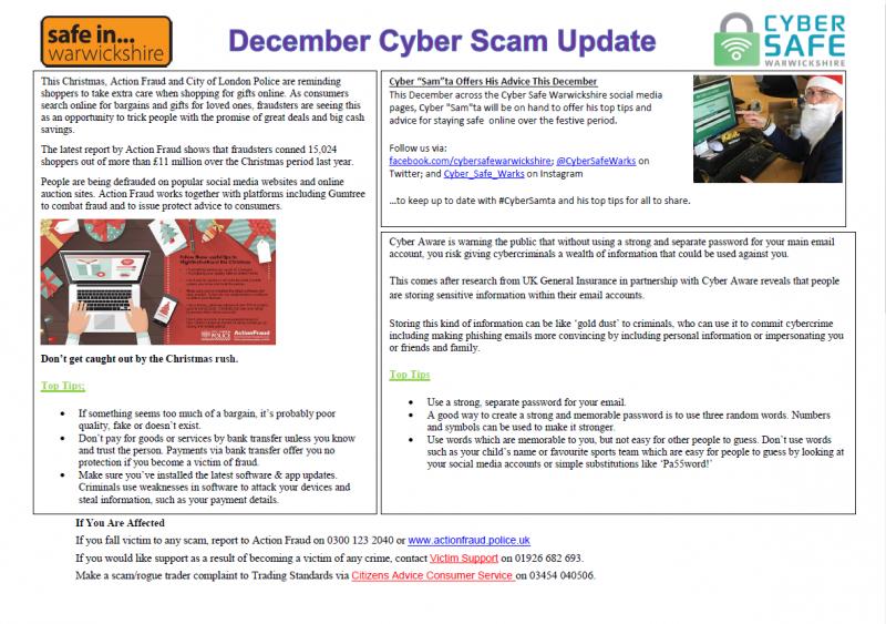 Cyber Safe Warwickshire - DECEMBER Cyber Scam Newsletter