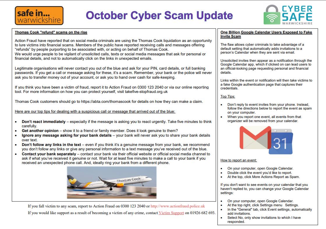 Cyber Safe Warwickshire October Cyber Scam Newsletter