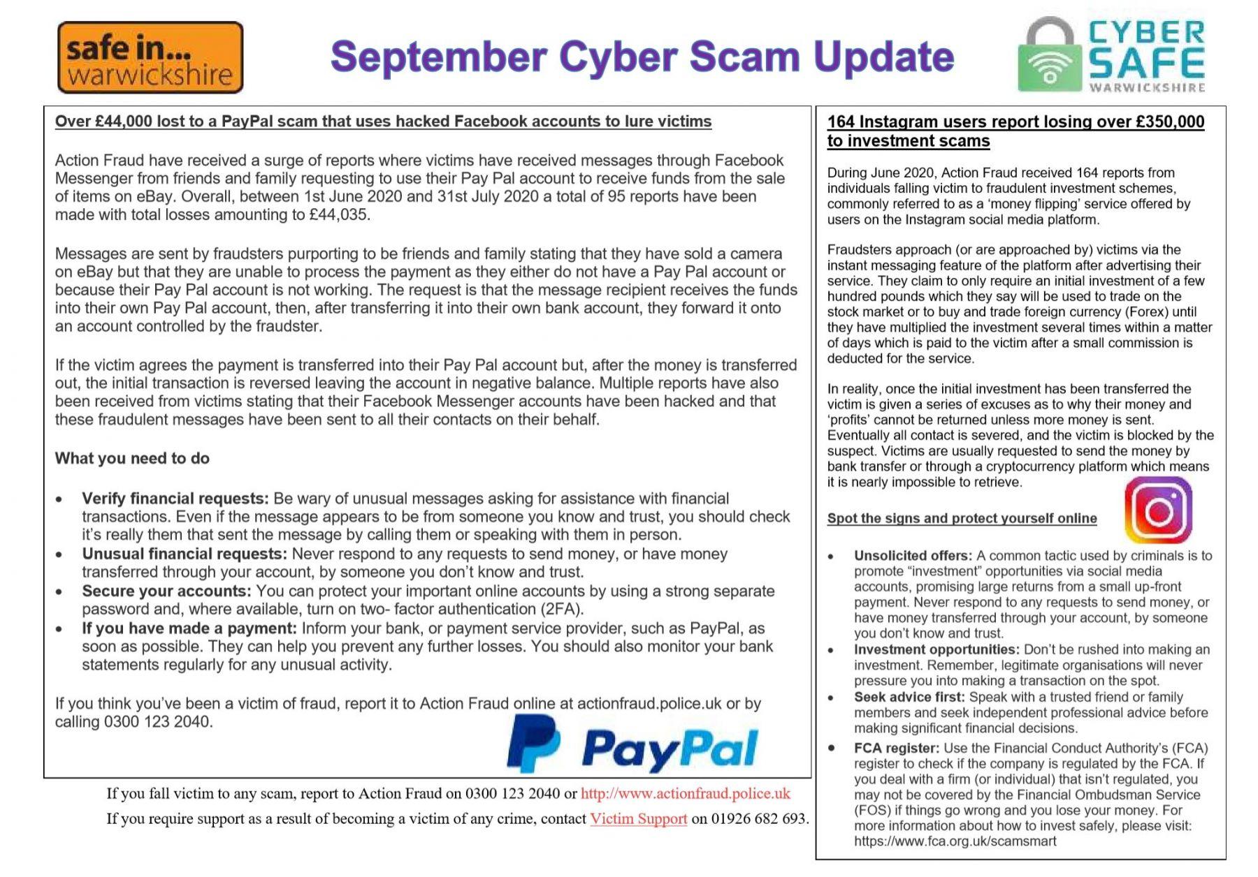 Cyber Safe Warwickshire September Cyber Scam Newsletter