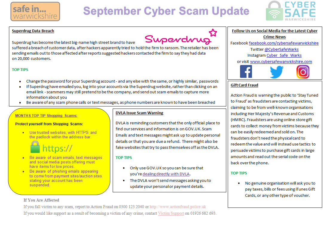 Cyber Safe Warwickshire - SEPTEMBER Cyber Scam Update is Now